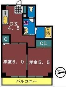 サンライズみつはし4階Fの間取り画像