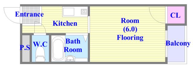 金沢ビル うれしいバス・トイレがセパレートの単身さん向けの間取りです。