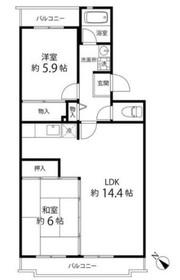 鎌倉グリーンヒルズ4階Fの間取り画像