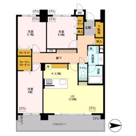 ロイヤルパークスリバーサイド14階Fの間取り画像