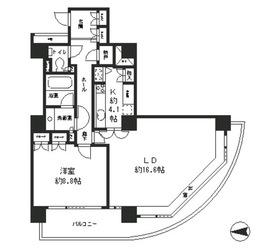 リバーポイントタワー11階Fの間取り画像