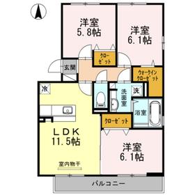 ディアコート関3階Fの間取り画像