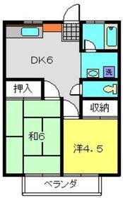 小川コーポ2階Fの間取り画像
