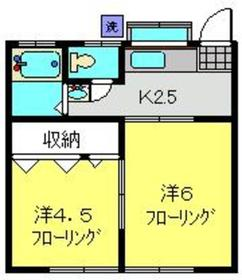 増山ハイツ1階Fの間取り画像