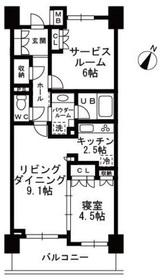 上野毛駅 徒歩25分6階Fの間取り画像