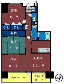 ソレイユ華4階Fの間取り画像