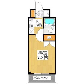 居室広々7.3帖の1Kタイプ!