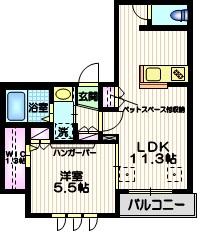Maison Haneda ペット共生2階Fの間取り画像