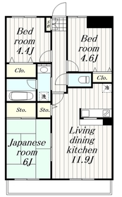 鶴間駅 徒歩12分3階Fの間取り画像