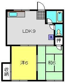 ドミシール青木2階Fの間取り画像
