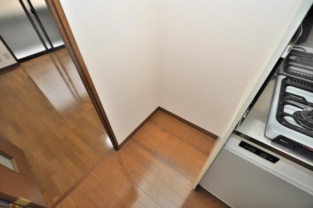 アンプルール フェール寿 キッチン横には冷蔵庫置き場がありますよ。