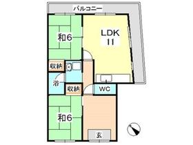 白神アパート2階Fの間取り画像