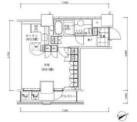 パークキューブ愛宕山タワー27階Fの間取り画像