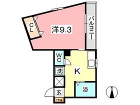 デューク白楽町 Ⅱ3階Fの間取り画像