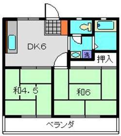 足立ハイツA2階Fの間取り画像