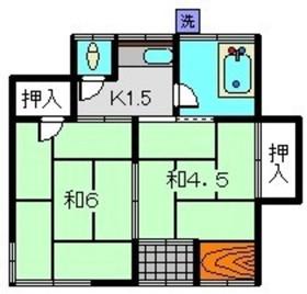 ひまわりハイツ1階Fの間取り画像