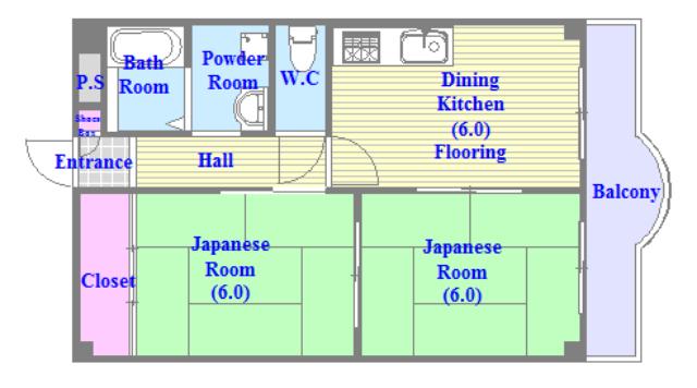 メゾンタツミ セパレートで和室もありファミリータイプにはおススメの間取です。