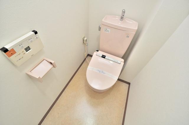 シャトー雅 広いトイレはウォシュレット完備で、収納も充実しています。
