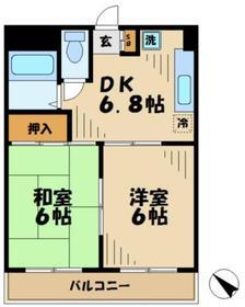 京王永山駅 バス12分「中村」徒歩1分2階Fの間取り画像