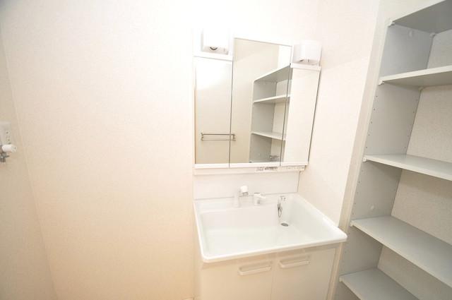 シャーメゾン友井 独立した洗面所には洗濯機置場もあり、脱衣場も広めです。