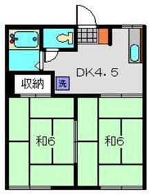 マルキハイツ2階Fの間取り画像