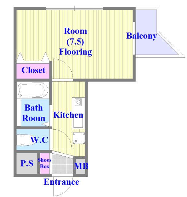 スリーゼ菱屋西 バス・トイレがセパレート、各所に収納がある使いやすい間取り。