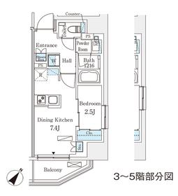 赤坂駅 徒歩4分7階Fの間取り画像