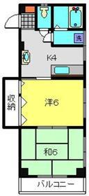 寿コーポ2階Fの間取り画像