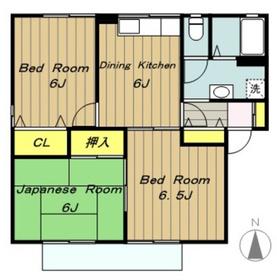 チャコールハイツ2階Fの間取り画像