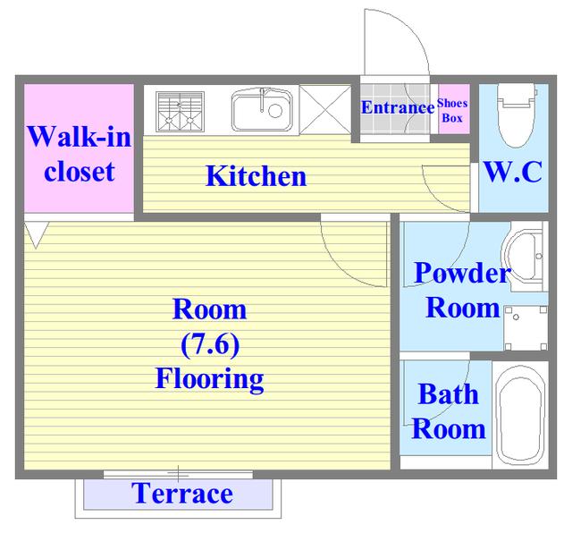 メゾンサンヴァレー バストイレがセパレート、独立洗面所のある使い易い間取りです。