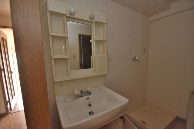 ノースフライト 独立した洗面所には洗濯機置場もあり、脱衣場も広めです。