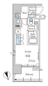 パークアクシス築地4階Fの間取り画像