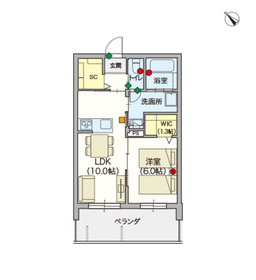 (シニア限定)ヘーベルVillage赤羽志茂4階Fの間取り画像