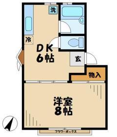 青木葉ハイツ21階Fの間取り画像