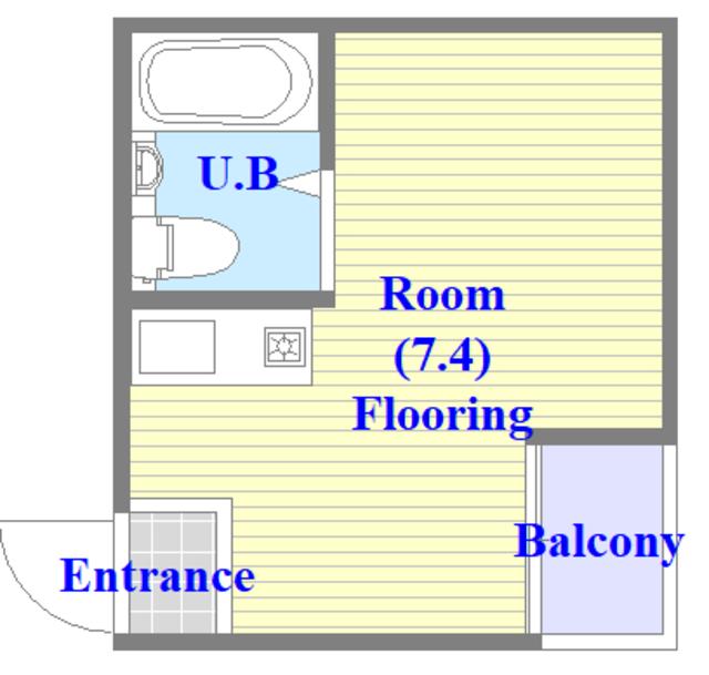 メルヘン新今里 シンプルな間取りでユニットバスのお部屋です。
