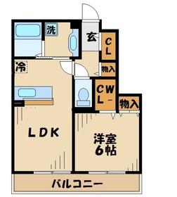 ミルフルールⅡ2階Fの間取り画像