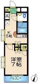 フラット藤村1階Fの間取り画像