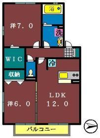 アムールA(大和田新田)2階Fの間取り画像