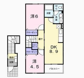本厚木駅 バス14分「下依知入口」徒歩5分2階Fの間取り画像