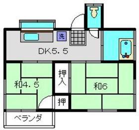 岩崎アパート1号棟2階Fの間取り画像