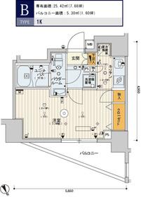 スカイコートヒルズ新宿9階Fの間取り画像