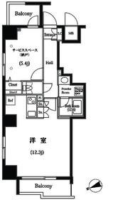 築地明石町デュープレックスR's2階Fの間取り画像