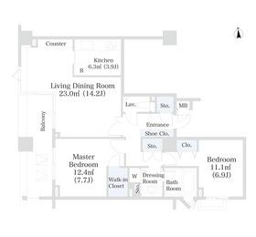 ラ・トゥール芝公園アネックス4階Fの間取り画像