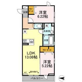 ソフィアハイツ2階Fの間取り画像