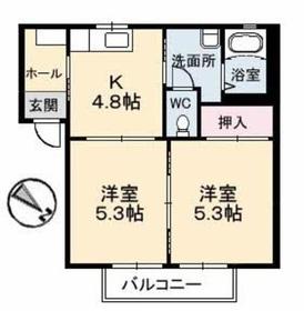 ヒルズYK2階Fの間取り画像