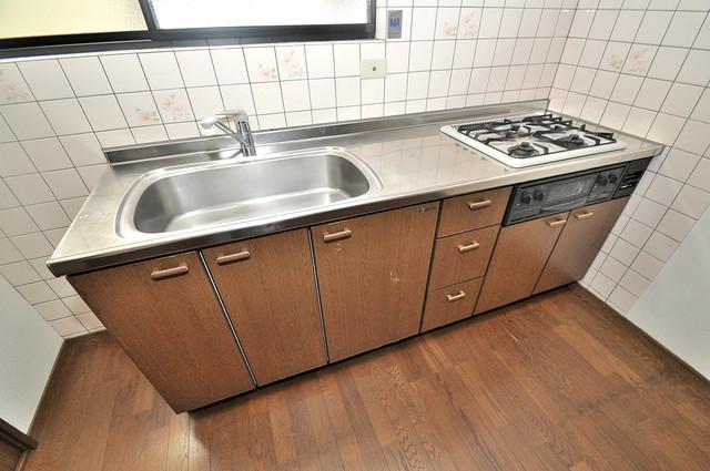 長栄寺8-24 貸家 大きなキッチンはお料理の時間を楽しくしてくれます。