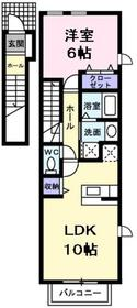 河辺駅 バス7分「藤橋」徒歩3分2階Fの間取り画像