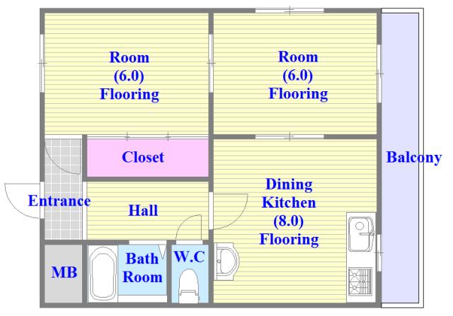 中村マンション 各部屋が余裕のある広さで、とてもゆったりとした間取りです。