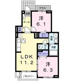 プロシード アンジュ1階Fの間取り画像