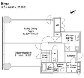 プラティーヌ西新宿9階Fの間取り画像